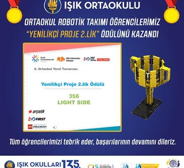 """ROBOTİK TAKIMI """"YENİLİKÇİ PROJE 2.LİK"""" ÖDÜLÜNÜ KAZANDI"""