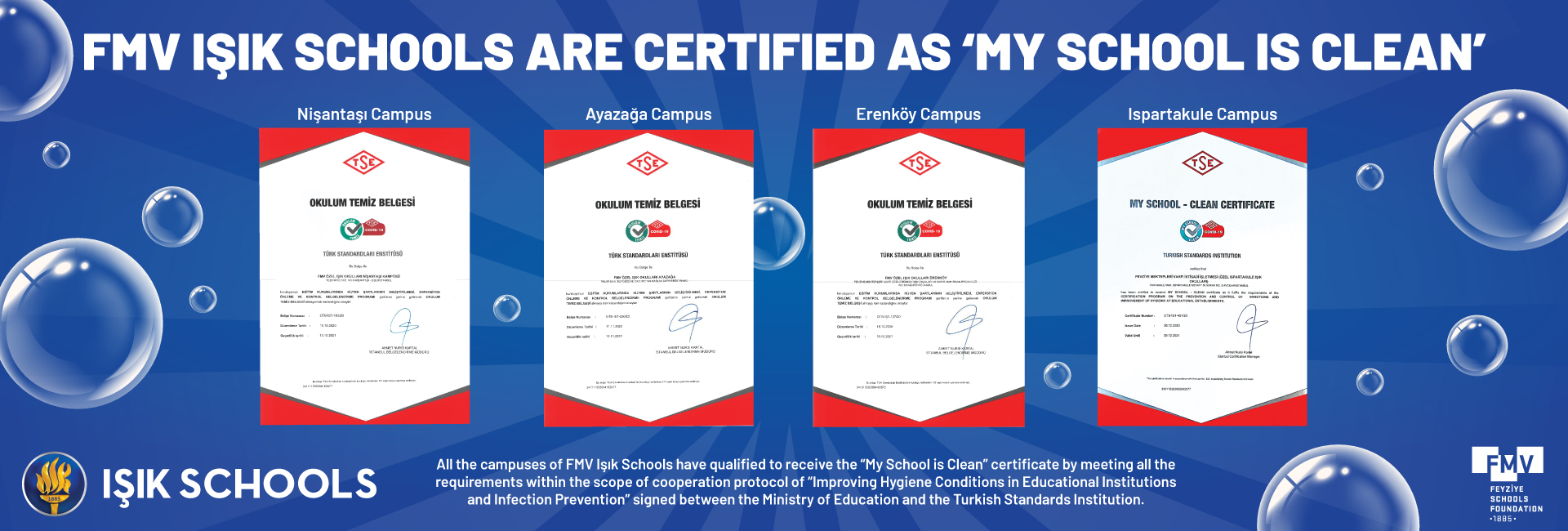 FMV IŞIK SCHOOLS ARE CERTIFIED AS 'MY SCHOOL IS CLEAN